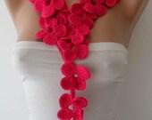 Winter Chic - Handknit flowered scarf -  Pink Scarf