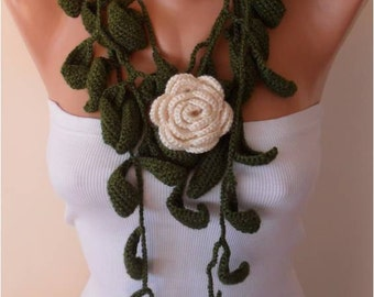 Green Leaves and Cream Rose Crochet Jewelry Scarf with Flower Brooch