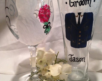 Wedding Wine Glasses, Military Wedding, Hand Painted Personalized Bridal Party, Bridesmaid Gift, Maid of Honor Gift, Wedding Gift