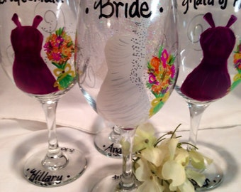 Wedding Dress Wine Glasses, Hand Painted Personalized, Bridal Party, Bridesmaid Gift, Maid of Honor Gift, Bride Glass, Wedding Gift, Favors