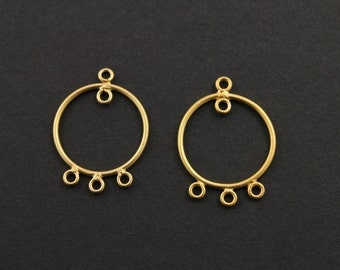 Gold Filled, Round Earrings Component 19mm, 1 Pair (GF/6628/19)