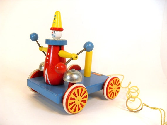 Toys That Were Made In The 1970 : Brio made in sweden wooden clown pull toy s
