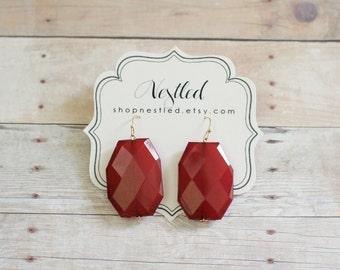 Oxblood Red Statement Earrings, Red Beaded Earrings, Burgundy Dangle Earrings