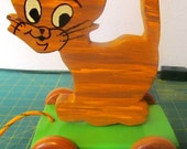 """VALENTINESALE Childrens Wooden Hand made Pull Toy """"Leo the Kitten"""""""
