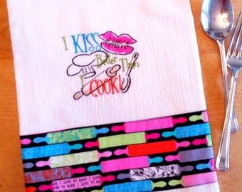 Dish towel COOKING / KISS / PUCKER theme, Embroidered flour sack style