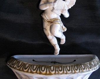 Figurine Ceramic Angel, Ceramic Angel Vintage Wall Pocket Cherub Napcoware Alabastro Tuscany