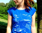 Bamboo Womens T-shirt hand screen printed with eco-friendly inks. Featuring an underwater scene of whales, sharks and killer whales