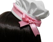 Adorable White and Pink Bakery Sweet Mini Pastry Chef Hat - 10+ Trim Colors Available - Made to Order