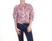 Vintage pink pastel blouse shirt women men size medium large