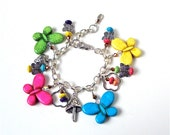 Chunky colorful stone butterfly charm bracelet, large butterfly bracelet, beaded charm bracelet, bright colorful jewelry