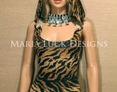 custom sizing Sexy Tiger print leotard costume with hoodie laced on the back for go go dance dress-up party halloween aerial circus