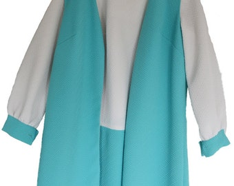 VINTAGE - Turquoise & White Tunic Dress with Matching Vest - Traceable Shipping Now Available
