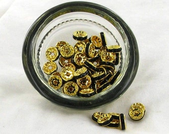 Black and Gold Rondelles - Beads Jewelry Supplies Crafting Supplies Jewelry Making