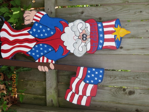 Uncle Sammy 4th of July Decor, Patriotic Wood Outdoor Yard Art, July Lawn Ornament, USA Decor, Uncle Sam Outdoor Decor, 4th of July Decor