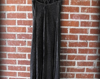 90's Black Sparkle Open Criss Cross Back Lurex  Maxi Dress Prom Grunge Goth Med/Large