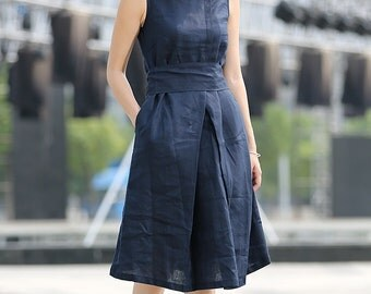 Navy blue linen dress midi dress -C263