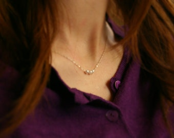 Silver necklace with tiny pearls - simple necklace