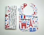 Baby Bib and Burp Cloth Set /FRENCH baby gift set/ Bonjour bib and burpie /3months to 2 years