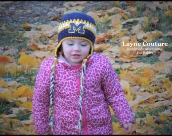 University of Michigan Handmade Earflap Crochet Baby / Toddler Hat / College Baby / Photo Prop / Custom Made / Item 1009