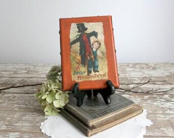 Vintage Style Halloween Decor orange brown black canvas frame antiqued country boy scarecrow 5x7 folk art primitive farmhouse cottage chic