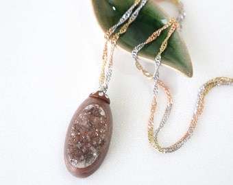 Brown Druzy Crystal Necklace, Long Oval Choco Crystal Stone, Indonesia Drusy Jewelry