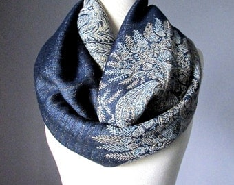 Winter scarf, Midnight Blue scarf, pashmina, Paisley scarf, Fern scarf