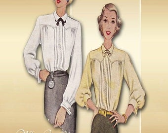 McCall 7304 1940s Blouse Pattern Sophisticated Fitted Career Blouse with Tailored Pintucks Detail