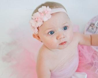 Light Pink Baby Headband, Baby Headband, Infant Headband, Newborn Headband -Light Pink Headband,Chiffon and Pearls Flower, Easter Headband