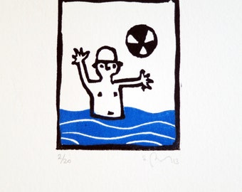 etching Bather, swimmer with balloon, beach game, sea, holidays, art, black and blue, engraving, lino, linoleum
