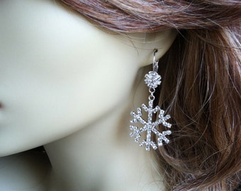 Snowflake earrings, winter jewelry, snowflake wedding, snowflake jewelry, christmas, Winter Wedding, winter SNOWFLAKE wholesale