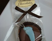 12 Chocolate Footprint Cookie Baby Shower Party Favors Candy Dessert Table Feet Toes