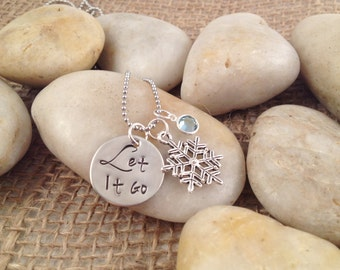 Let It Go Necklace with Snowflake Charm and Round Swarovski Crystal