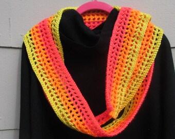 Neon Scarf, Dayglow Summer Scarf, Trendy Summer Scarf, Spring Scarf, Spring Crochet Scarf,  Summer Scarf, Festival Wear, Concert Gear