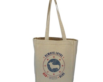Corgi Dog Patriotic Americana Tote Bag - Red, White and Blue