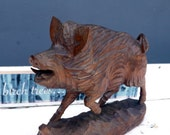 Antique Schwarzwald wild boar wooden sculpture