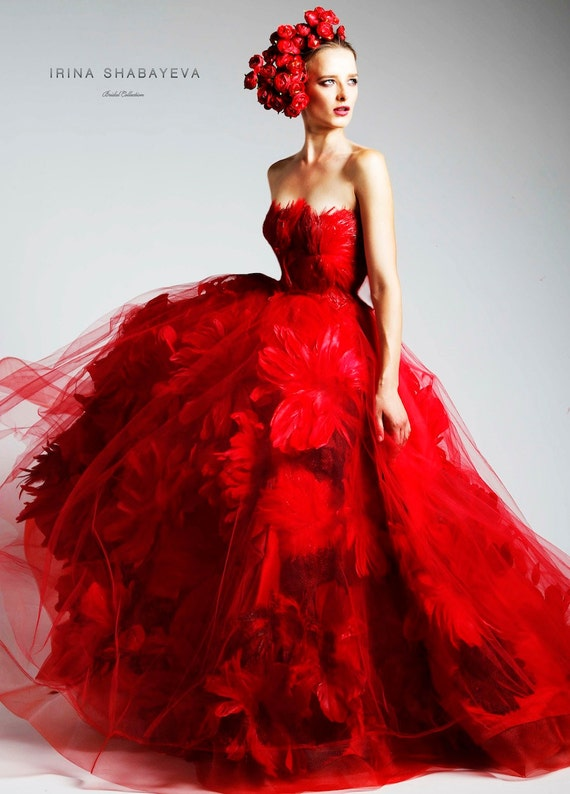 Irina Shabayeva Red Couture Feather Bouquet Ball Gown
