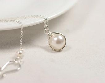 Bridal Pearl Necklace Wire Wrapped Jewelry Handmade Sterling Silver Jewelry Handmade Swarovski Pearl Necklace White Pearl Necklace