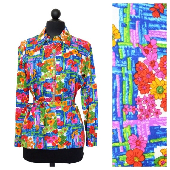 Vintage Shirt / Blouse / Long Sleeved / Novelty Print / Neon / Floral / Womens Clothing / Collared Shirt / Button Down / 1970s 70 / Hippie