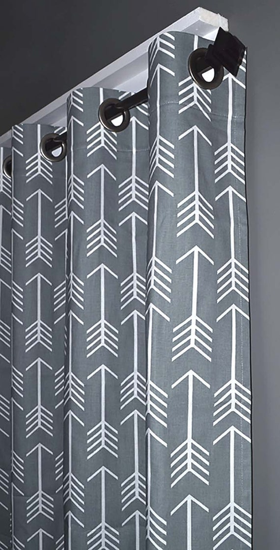 FREE SHIPPING Grey Arrow Grommet Curtains - Two Curtain Panels You ...