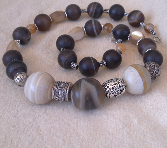Rare Genuine Antique Egyptian Agate Beads Necklace | Mayada