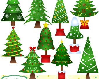Christmas Trees clip art set. INSTANT DOWNLOAD for Personal and commercial use.