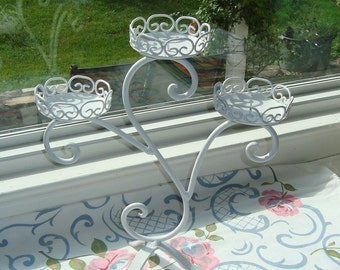 Satin White Triple  Candelabra, Metal Scroll Candle holder, [Alo]