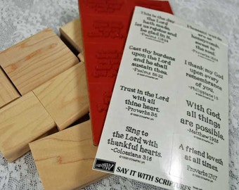 "Stampin Up Rubber Stamps - 1998 - MINT, UNMOUNTED  - ""Say It With Scriptures"" - Great Designs for Scrapping, Cardmaking, Crafts"