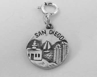 Sterling Silver San Diego Charm - Fits Both Traditional and European Charm Bracelets - 3091
