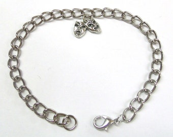 Silver Plated Pewter Comedy/Tragedy Mask Charm on a Silver Tone Adjustable Charm Bracelet- 1793