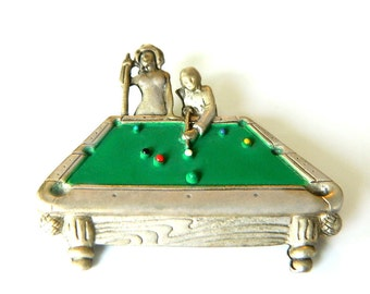 Vintage Pool Table Brooch Signed AJC Pewter Pin Figural  Dimensional Billiards Collectible Jewelry