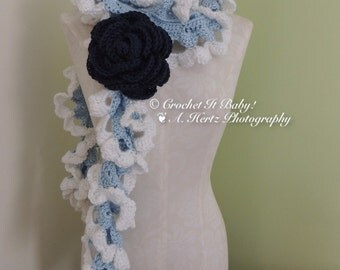 The Donna Rose Crochet Scarf with Rose Pin (PATTERN ONLY)