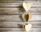 Cream gold glitter Heart Garland, Romantic Wedding Decor, Bridal Shower Decor, 3D Hanging Hearts 9ft, Photo Prop,  Paper Heart Garland