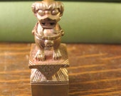 Heavy Metal Antique Chinese Souvenir Chop Seal Stamp Foo Dog Shady Manor in original case