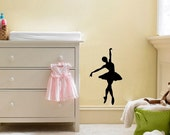 Ballerina Wall Decal Black or White - Your choice of image in various sizes.